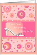 Thank You for coming To My Party Shoe & Polka Dot Fun card