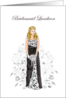 Elegant Black & White Bridesmaid Luncheon Invitations Cards