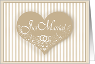 Elegant Heart Just Married Announcements card