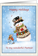 Hark The Herald Snowman Sings Fiddling Snowman Christmas Card