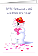 Bear Hugs for a Fireman Fire Fighter Happy Valentine's Day Greeting Cards