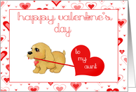 Little Puppy Dog Aunt Valentines Day Love Card Greeting cards