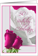Roses 50th Birthday Party Invitations Paper Greeting Cards
