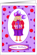 Lady in Hat Birthday Paper Greeting Cards