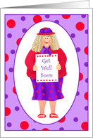 Red Hat Ladies Get Well Soon Paper Greeting Cards