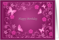 Mulberry Wine Birthday Cards For Her Elegant Mauve Paper Greeting Cards
