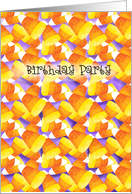 Colorful Candy Corn Halloween Themed Birthday Party Invitations Paper Greeting Cards