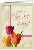 Colorful Tulips 85th Birthday Cards for Her card