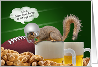 Humorous Squirrel Football Super Bowl Party Invitations Cards