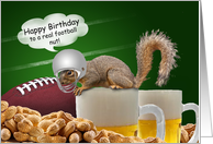 Humorous Birthday Squirrel Football Themed Cards