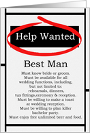 Humorous Best Man Invitations Help Wanted Ad Cards