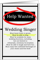 Humorous Wedding Singer Invitations Help Wanted Ad Cards