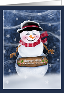 For Mail Carrier Jolly Smiling Snowman Christmas Cards