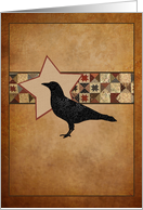 Primitive Folk Art Crow and Star Blank Note Cards