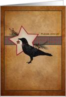 Christmas Themed Invitations Primitive Folk Art Crow and Star card