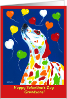 Valentine's Day Grandsons - Dalmatian Dog Balloons card