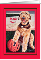 Thank You Basketball Coach - Airedale Dog card
