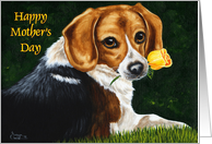Mother's Day - Beagle Yellow Rose card