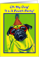 Dog Birthday Party Invitation - Pug Puppy card