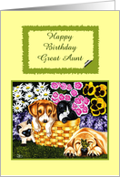 Happy Birthday Great Aunt - Flowers Puppies Kittens Butterfly card