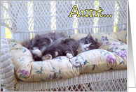 Birthday Aunt - Sleeping Kitty Cat card