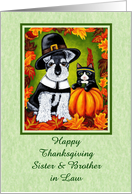 Happy Thanksgiving Sister & Brother in Law - Pilgrim Dog Indian Cat card