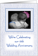 15th Wedding Anniversary celebration party invitation - little girl and boy hugging card