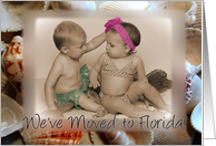 We've moved to Florida, little girl and boy on beach card