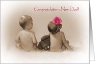 Congratulations new Dad, little boy and Girl with pink flower card