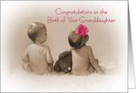 Congratulations on birth of your granddaughter, little boy and Girl with pink flower card