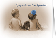 Congratulations new Grandma, little boy and Girl with blue flower card