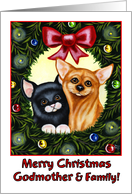 Merry Christmas Godmother & Family, kitty cat and Chihuahua in holiday wreath card