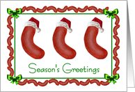 Season's Greetings Christmas hot dog sausages in Santa hats card