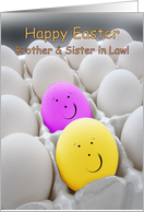 Brother and Sister in Law Happy Easter, Smiling pink & yellow eggs card