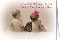 Daughter in Law on First Mother's Day, baby girl and boy with pink flower card