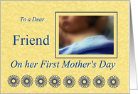 Friend First Mother's Day, baby boy with blue blanket card