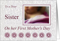 Sister First Mother's Day, baby girl with pink blanket card