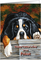 Priest Father's Day, Sleeping Bernese Mountain Dog card