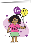 4th Birthday, Dark Skinned Girl with Balloons card
