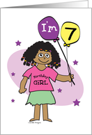 7th Birthday, Dark Skinned Girl with Balloons card