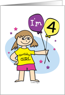 4th Birthday Girl card