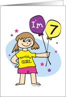 7th Birthday, Girl with Balloons card
