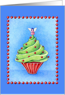 Christmas Tree Cupcake blue card