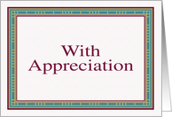With appreciation card