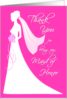 Maid of Honor Thank You Card - pink card
