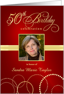50th Birthday Party Invitations with Your Custom Photo - Elegant Red & Gold card
