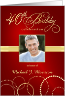40th Birthday Party Invitations with Your Custom Photo - Elegant Red & Gold card