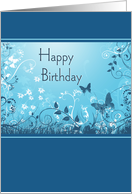 Butterfly Birthday - Blue Vertical card