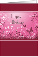 Butterfly Birthday - Pink Vertical card