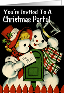 Retro-Style Snowman Christmas Party Invitation card